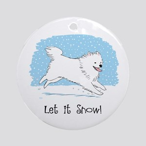 Eskie Let it Snow Dog Ornament (Round)