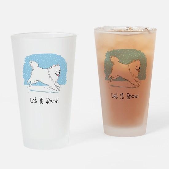 Eskie Let it Snow Dog Drinking Glass