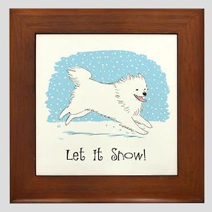Eskie Let it Snow Dog Framed Tile