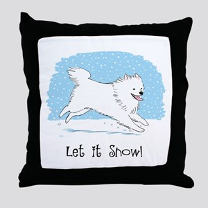 Eskie Let it Snow Dog Throw Pillow
