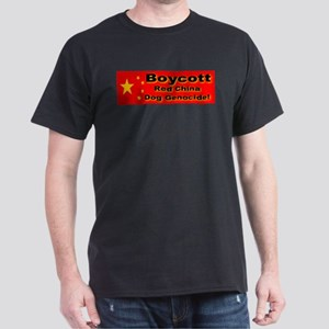 Boycott Red China Dog Genocid Black T-Shirt