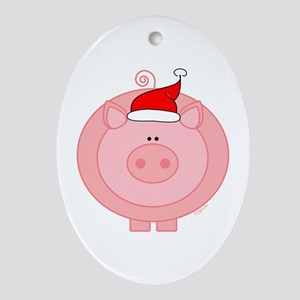 Holiday Pig Oval Ornament