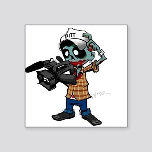 "Zombie Camera Man Pitt Square Sticker 3"" x 3"""