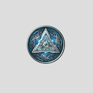 Norse Valknut - Blue Mini Button