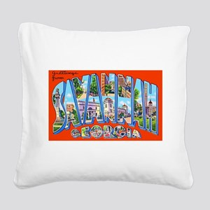Savannah Georgia Greetings Square Canvas Pillow