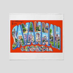 Savannah Georgia Greetings Throw Blanket