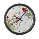 Atom Flowers #24 Large Wall Clock