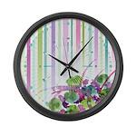Atom Flowers #28 Large Wall Clock