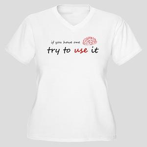 Use your brain Women's Plus Size V-Neck T-Shirt