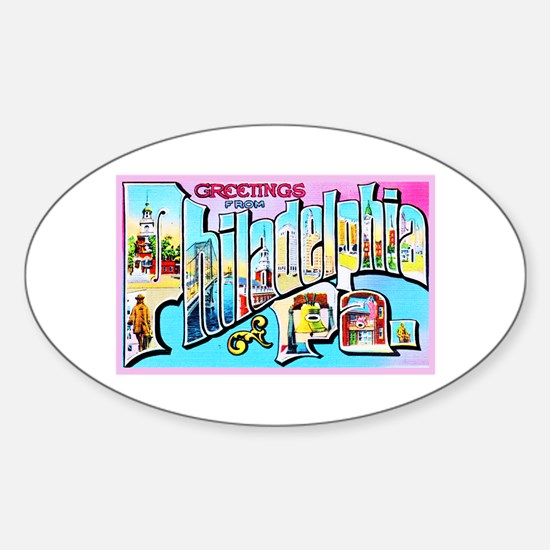 Philadelphia Pennsylvania Greetings Sticker (Oval)