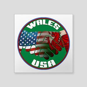 "Wales USA Friendship Square Sticker 3"" x 3&qu"