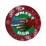 Christmas wales Round Ornaments