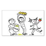 Apples & Honey Kids Jewish New Year Sticker (Recta