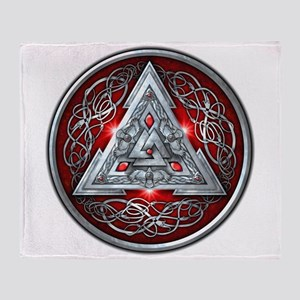 Norse Valknut - Red Throw Blanket