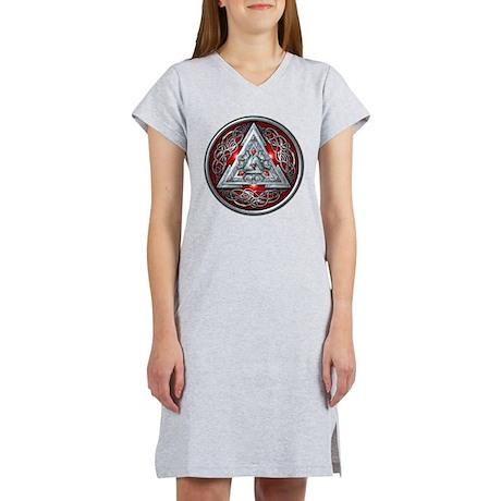 Norse Valknut - Red Women's Nightshirt
