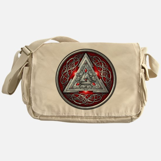 Norse Valknut - Red Messenger Bag