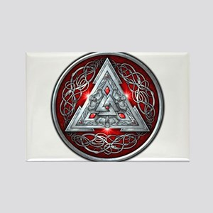 Norse Valknut - Red Rectangle Magnet