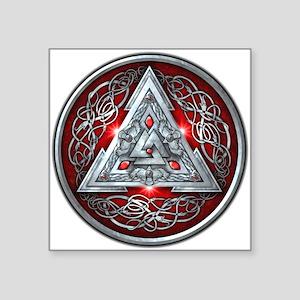 """Norse Valknut - Red Square Sticker 3"""" x 3"""""""