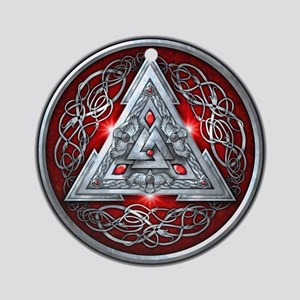 Norse Valknut - Red Ornament (Round)