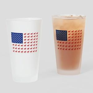Patriotic Horses USA Drinking Glass
