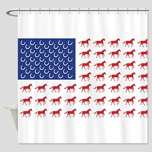 Patriotic Horses USA Shower Curtain