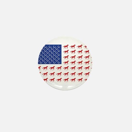 Patriotic Horses USA Mini Button