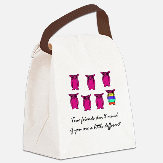 Different Owl Pink Canvas Lunch Bag