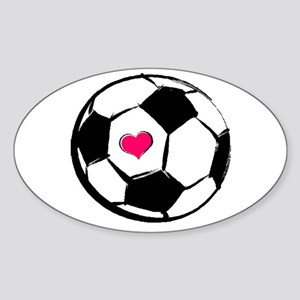 Soccer Heart Rectangle Sticker
