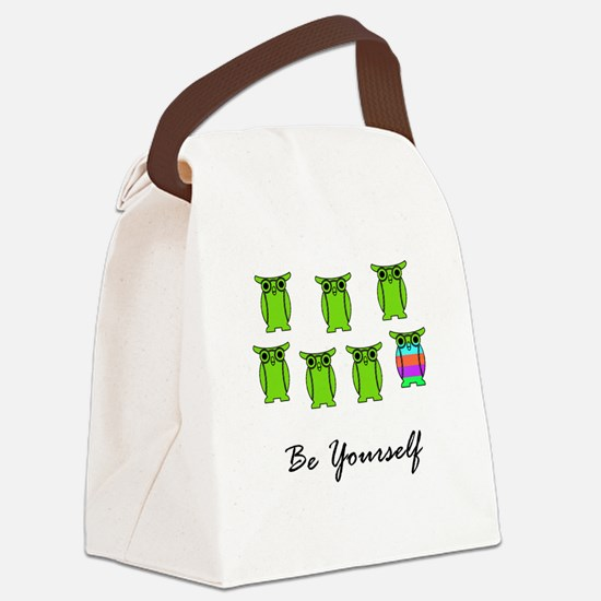 Be Yourself Green Canvas Lunch Bag