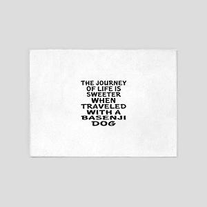Traveled With Basenji Dog Designs 5'x7'Area Rug