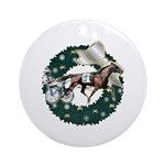 Harness Racer White Xmas Ornament (Round)