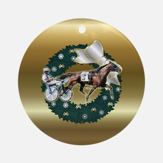Harness Racer Gold Xmas Ornament (Round)