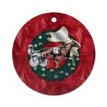 Harness Racer Red Xmas Ornament (Round)