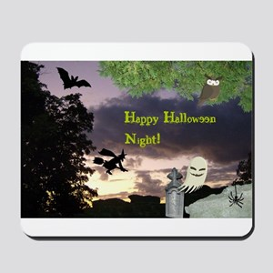 Happy Halloween Night Witch Mousepad