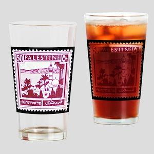 Palestine Vintage Postage Stamp Drinking Glass