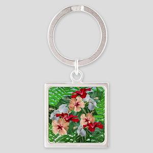Hibiscus Flowers on Ferns Keychains