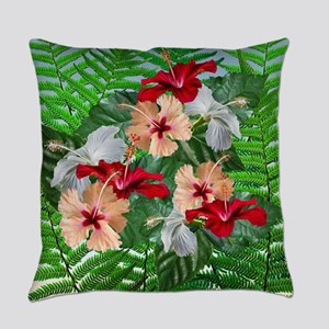 Hibiscus Flowers on Ferns Everyday Pillow