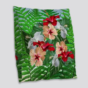 Hibiscus Flowers on Ferns Burlap Throw Pillow