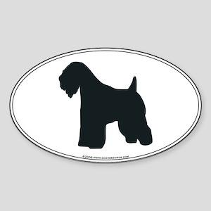 Wheaten Terrier Silhouette Oval Sticker