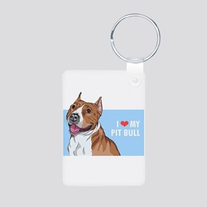 I Love My Pit Bull Aluminum Photo Keychain
