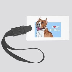 I Love My Pit Bull Large Luggage Tag