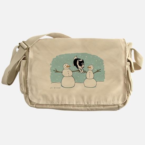 Border Collie Holiday Messenger Bag