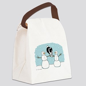 Border Collie Holiday Canvas Lunch Bag