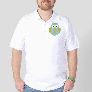 Blue Green Polka Dot Owl Golf Shirt