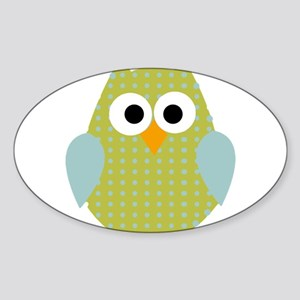 Green Blue Polka Dot Owl Sticker (Oval)