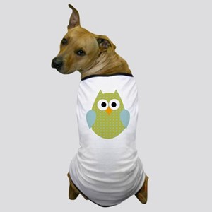 Green Blue Polka Dot Owl Dog T-Shirt