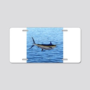 Blue Marlin on Water Aluminum License Plate