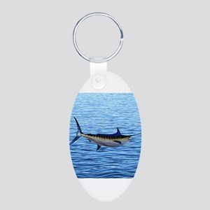 Blue Marlin on Water Aluminum Oval Keychain