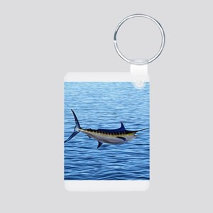Blue Marlin on Water Aluminum Photo Keychain