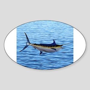 Blue Marlin on Water Sticker (Oval)